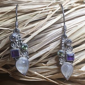 Sajen Sterling Silver Moonstone Amethyst Earrings
